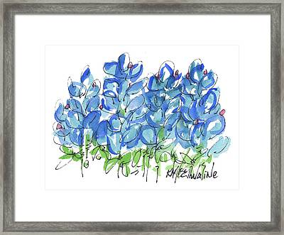 Bluebonnet Dance Whimsey,by Kathleen Mcelwaine Southern Charm Print Watercolor, Painting, Framed Print by Kathleen McElwaine
