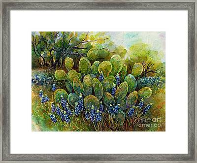 Bluebonnets And Cactus 2 Framed Print