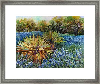 Bluebonnets And Yucca Framed Print by Hailey E Herrera