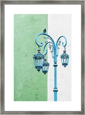 Blue,green And White Framed Print