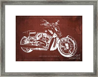Blueprint 2011 Harley-davidson Vrscf V-rod Muscle - Red Background Framed Print by Pablo Franchi