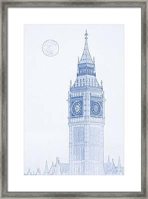 Blueprint Drawing Of Big Ben Tower 2 Framed Print
