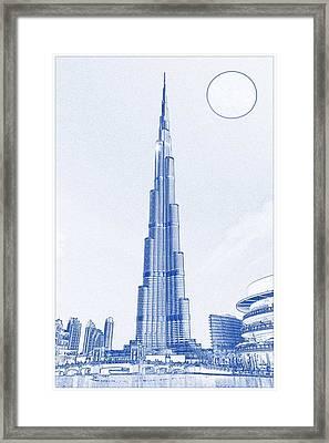 Blueprint Drawing Of Burj Khalifa Emirates Dubai 2s Framed Print