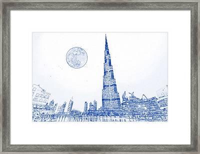 Blueprint Drawing Of Burj Khalifa Emirates Dubai 3 Framed Print