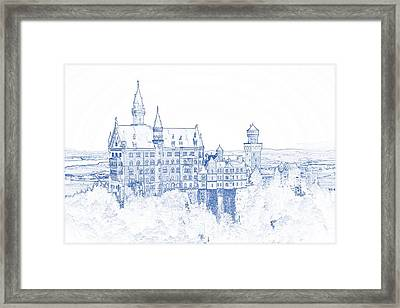Blueprint Drawing Of Castle 93 Framed Print