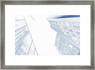 Blueprint Drawing Of Downtown Buildings Framed Print