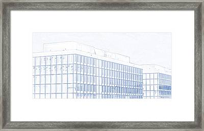 Blueprint Drawing Of Glass Buildings 92 Framed Print