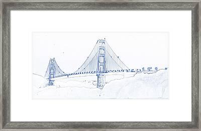 Blueprint Drawing Of Golden Gate Framed Print