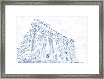 Blueprint Drawing Of Greece Palace  Parthenon Iconic Ruins Framed Print
