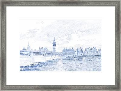 Blueprint Drawing Of London Westminster Landmark England 87 Framed Print