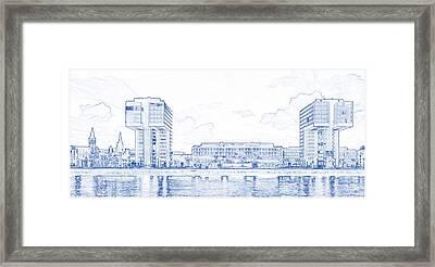 Blueprint Drawing Of Modern Apartment Complex 85 Framed Print