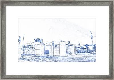 Blueprint Drawing Of Modern Metro Rumyantsevo Transport Moscow Glass Exit  86 Framed Print