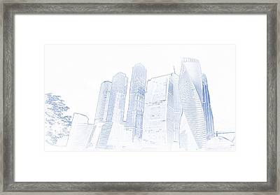 Blueprint Drawing Of Moscow City  Russia Megalopolis Skyscraper 89 Framed Print
