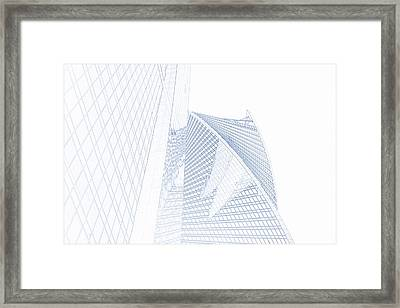 Blueprint Drawing Of Moscow City  Skyscraper 88 Framed Print