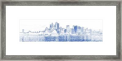 Blueprint Drawing Of Sydney Opera House Framed Print