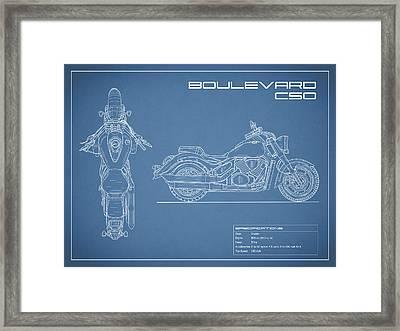 Blueprint Of A Boulevard C50 Motorcycle Framed Print by Mark Rogan