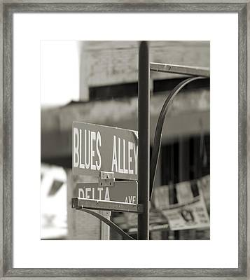 Blues Alley Street Sign Framed Print