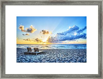 Blues And Golds Of Summer Framed Print by Debra and Dave Vanderlaan