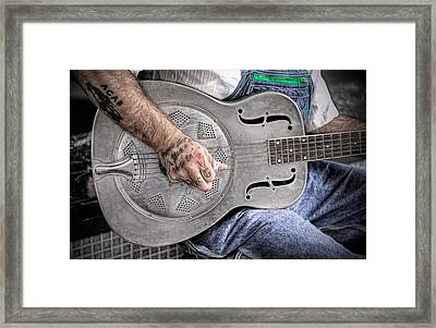 Blues And Tattoos Framed Print