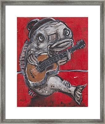 Blues Cat On Guitar Framed Print