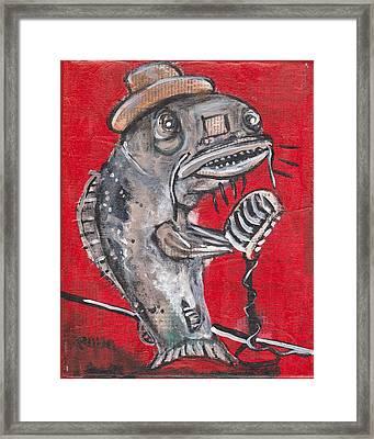 Blues Cat Singer Framed Print
