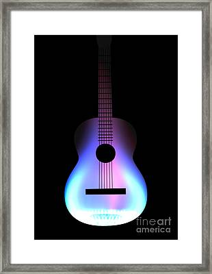 Blues Guitar On Fire Framed Print