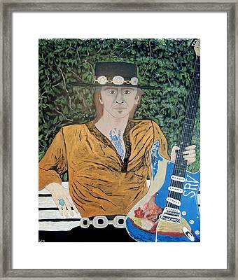 Blues In The Park With Stevie Ray Vaughan. Framed Print by Ken Zabel