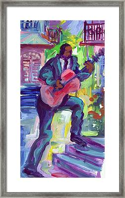 Blues Man On Steps Framed Print by Saundra Bolen Samuel