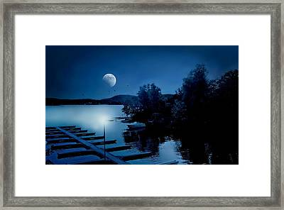 Blues On The Lake Framed Print by Diana Angstadt