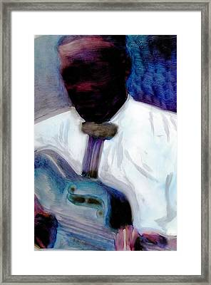 Framed Print featuring the painting Blues Pickin by FeatherStone Studio Julie A Miller