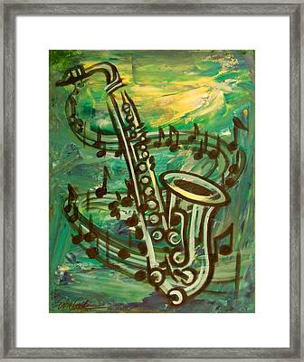 Blues Solo In Green Framed Print