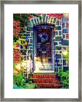 Bluestone Door Framed Print by Janine Riley