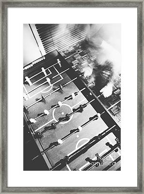 Blurred Man Playing An Indoor Foosball Framed Print by Jorgo Photography - Wall Art Gallery