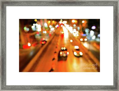 Blurred Of Car Framed Print