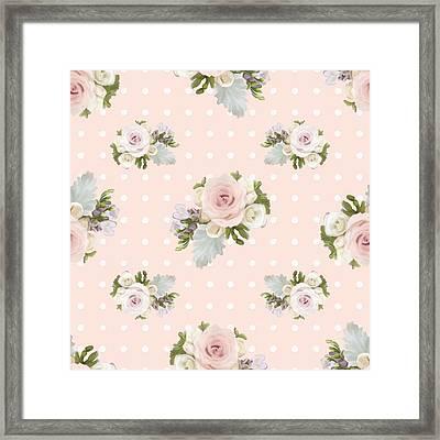 Blush Pink Floral Rose Cluster W Dot Bedding Home Decor Art Framed Print by Audrey Jeanne Roberts
