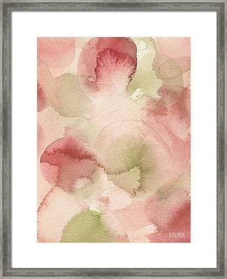 Blush Pink Green Persimmon Framed Print