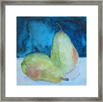 Blushing Pears Framed Print by Jenny Armitage