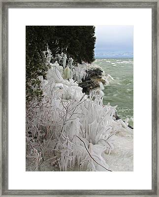 Framed Print featuring the photograph Blustery Lake Michigan Day by Greta Larson Photography