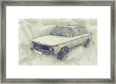Bmw 02 Series 1 - Ececutive Car - 1966 - Automotive Art - Car Posters Framed Print