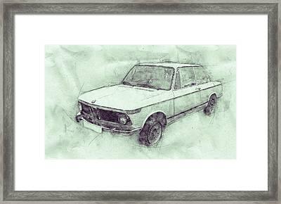 Bmw 02 Series 3 - Ececutive Car - 1966 - Automotive Art - Car Posters Framed Print