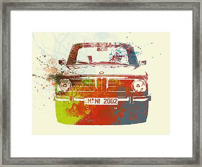 Bmw 2002 Front Watercolor 2 Framed Print by Naxart Studio