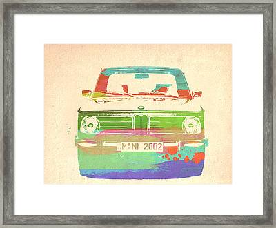 Bmw 2002 Front Watercolor 3 Framed Print