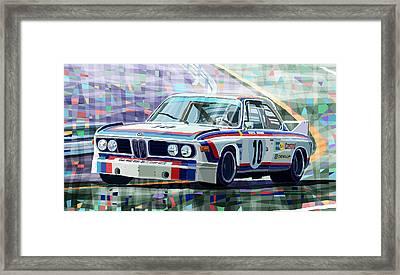 Bmw 3 0 Csl 1st Spa 24hrs 1973 Quester Hezemans Framed Print by Yuriy  Shevchuk