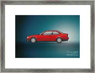 Bmw 3 Series E36 Coupe Red Framed Print