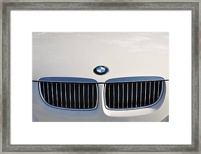 Bmw Grille White Framed Print by Bill Cannon