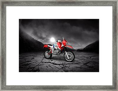 Bmw Gs980r Dakar 1985  Mountains Framed Print by Aged Pixel