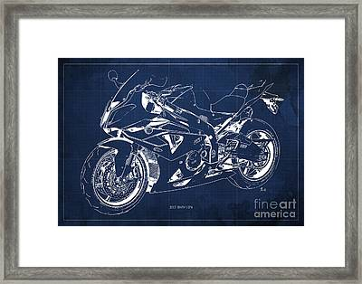 Bmw Hp4 2013 Blueprint Motorcycle, White Line, Vintage Background Framed Print by Pablo Franchi
