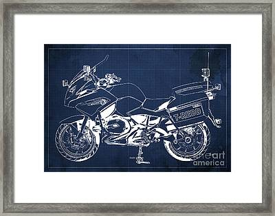 Bmw Rt1200 Police Blueprint Framed Print