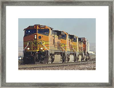 Bnsf Freight Train Framed Print by Richard R Hansen and Photo Researchers
