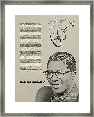 Bo Diddley Poster Autographed  Framed Print by Pd